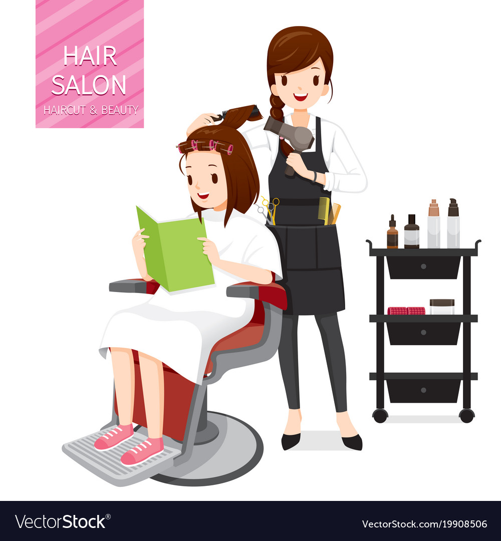 Relaxing Woman In Hair Salon Royalty Free Vector Image