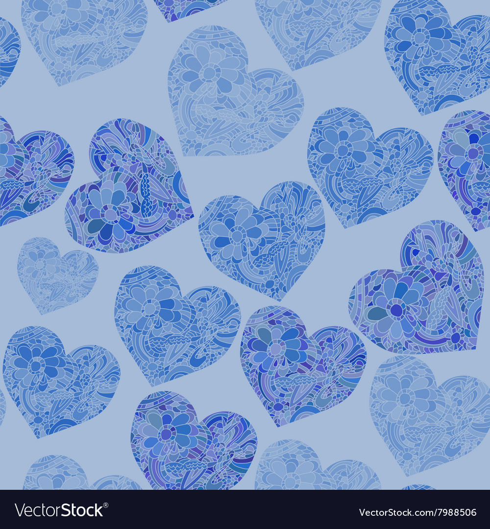 Seamless pattern with doddle hearts in blue colors vector image