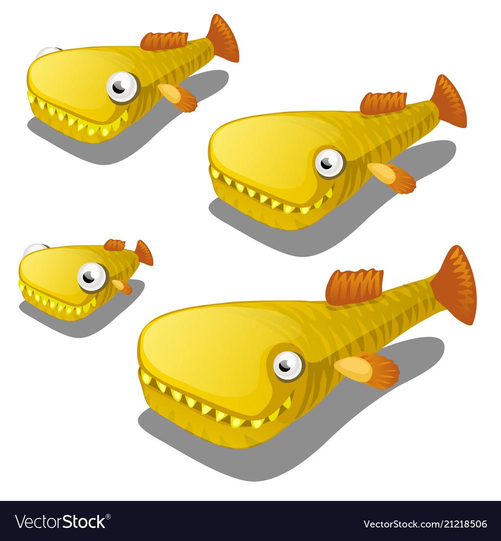 Set of cartoon fish isolated on white background