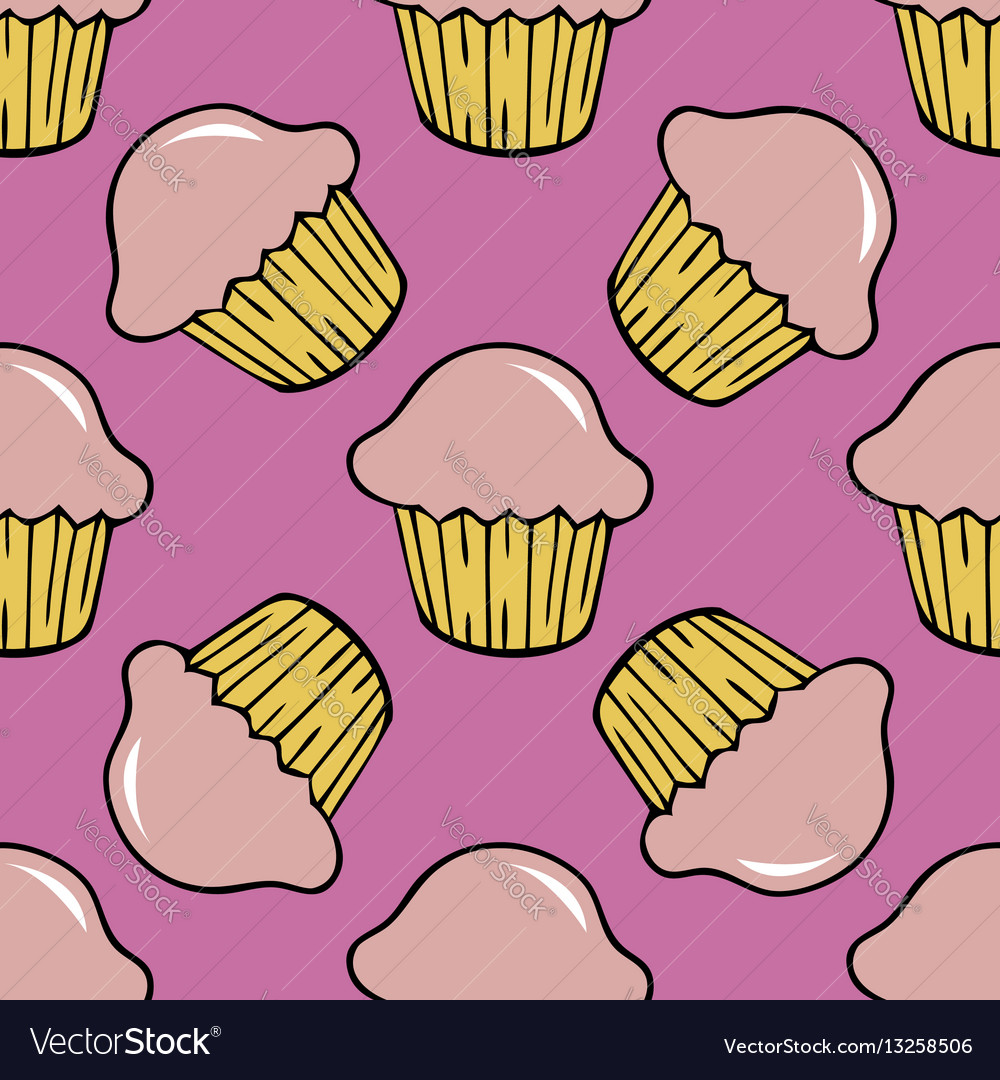 Strawberry pink cream cupcake seamless pattern