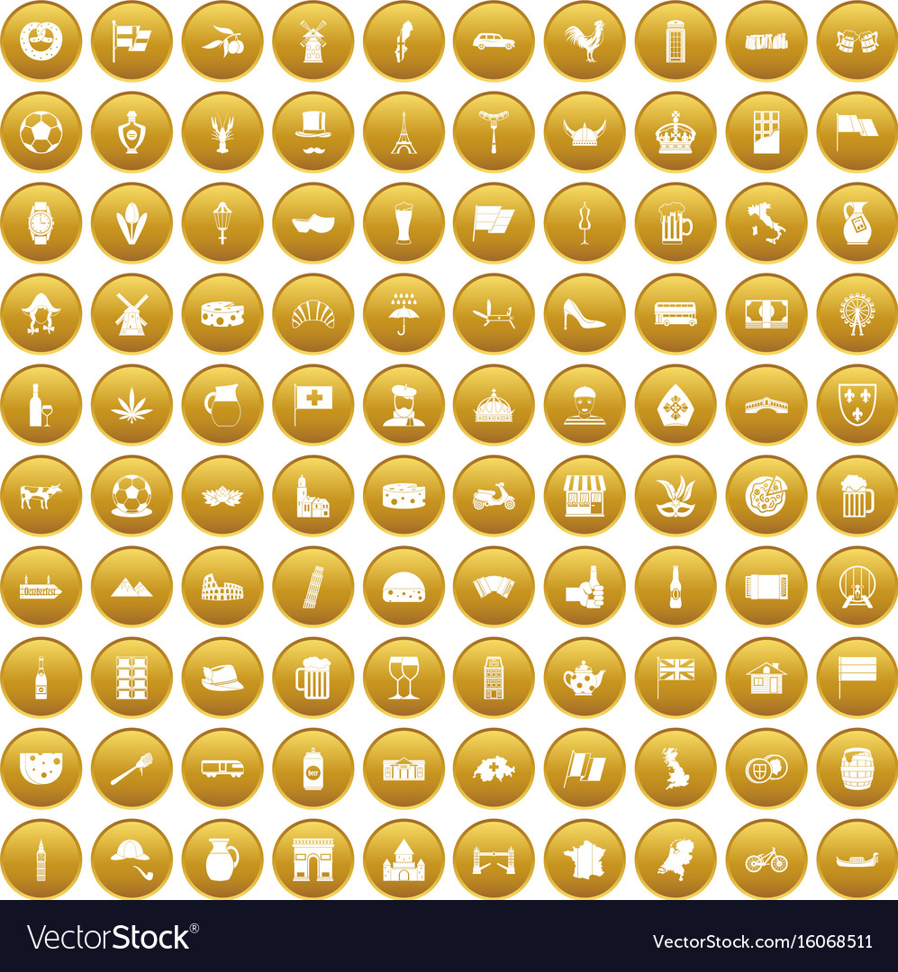 100 europe countries icons set gold