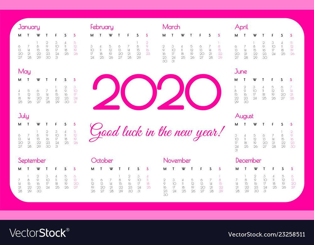 Pink 2020 Calendar 2020 year pocket calendar pink color simple Vector Image