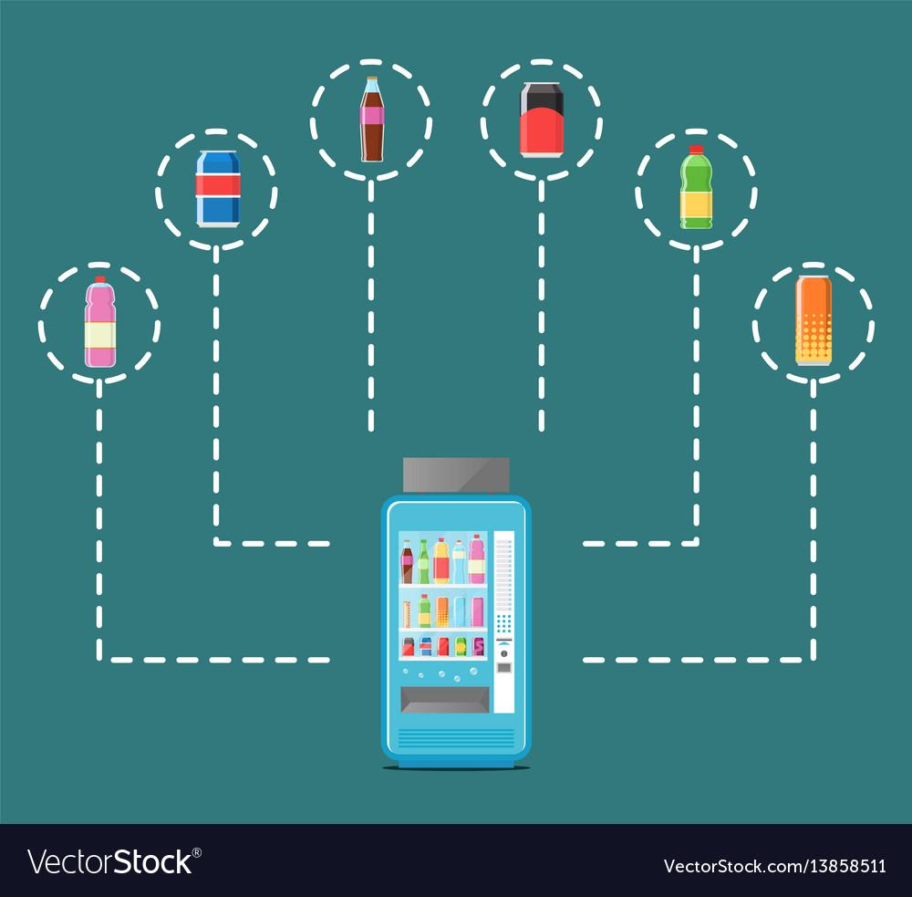 Automatic vending machine in flat design