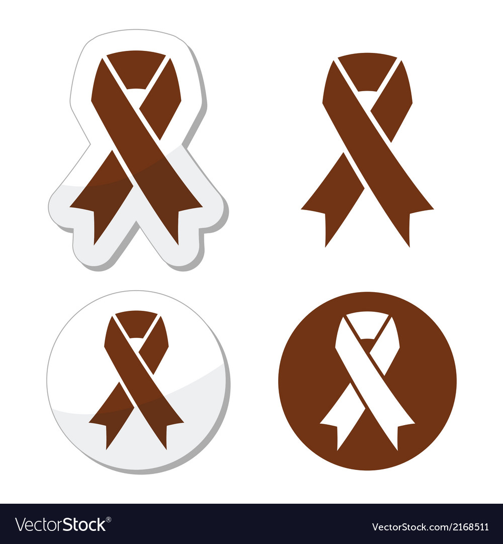 Brown ribbon anti-tobacco symbol awereness