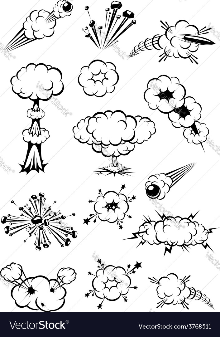 Cartoon black and white explosions