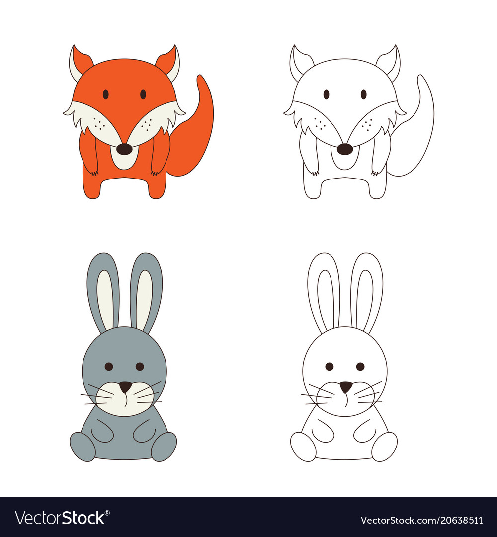 Coloring page with animal wild fox and rabbit in