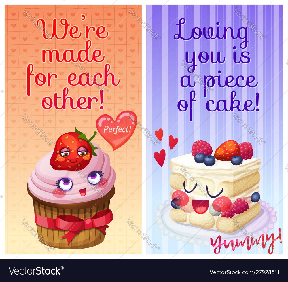 cute food characters funny flirty quotes we vector image