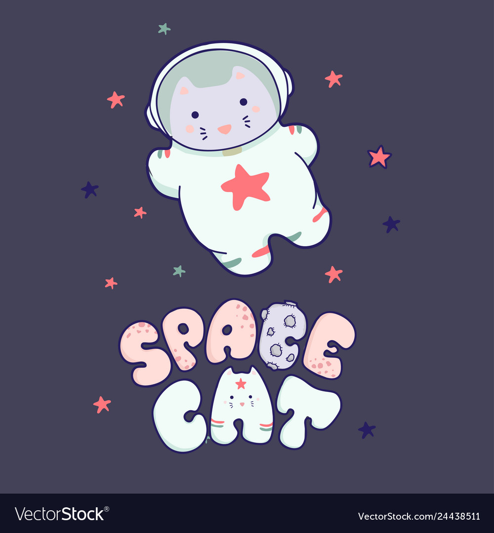 Cute kawaii cat travels in space and the