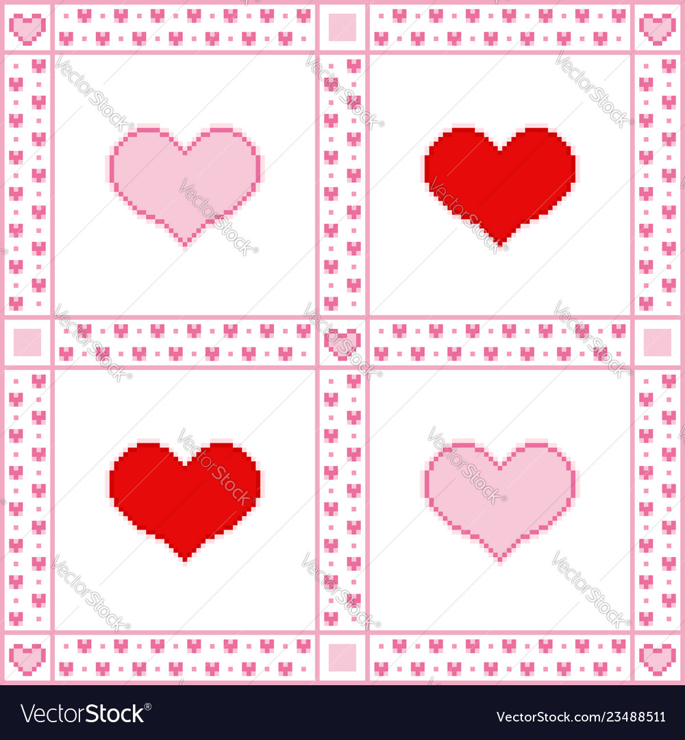 Embroidery background with hearts pixel-art style