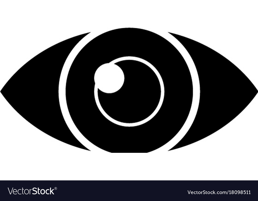 Eye simple icon black sign