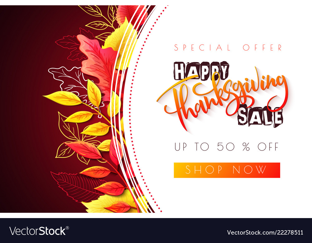 Greeting thanksgiving sale promotion banner