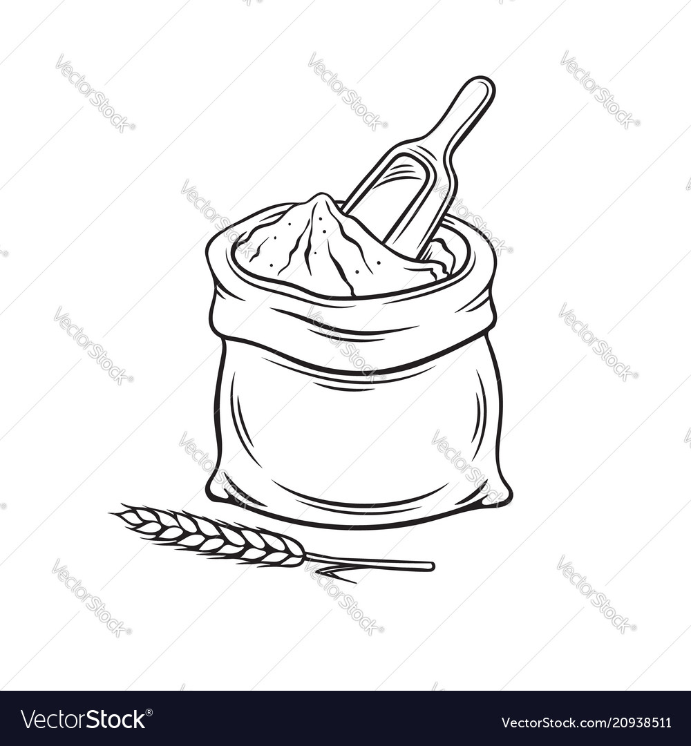 Hand drawn bag of flour vector image