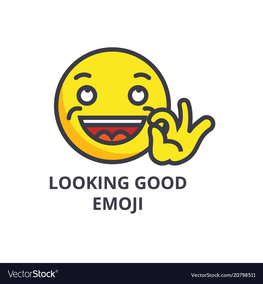Looking good emoji line icon sign