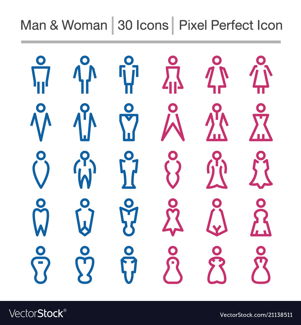 Man and woman line icon vector