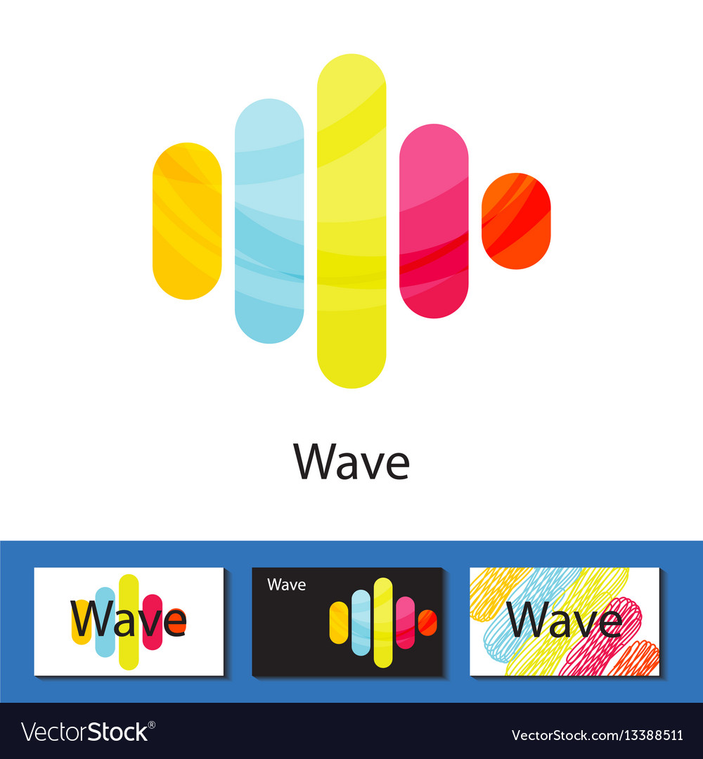 Multicolored wave columns logo concept