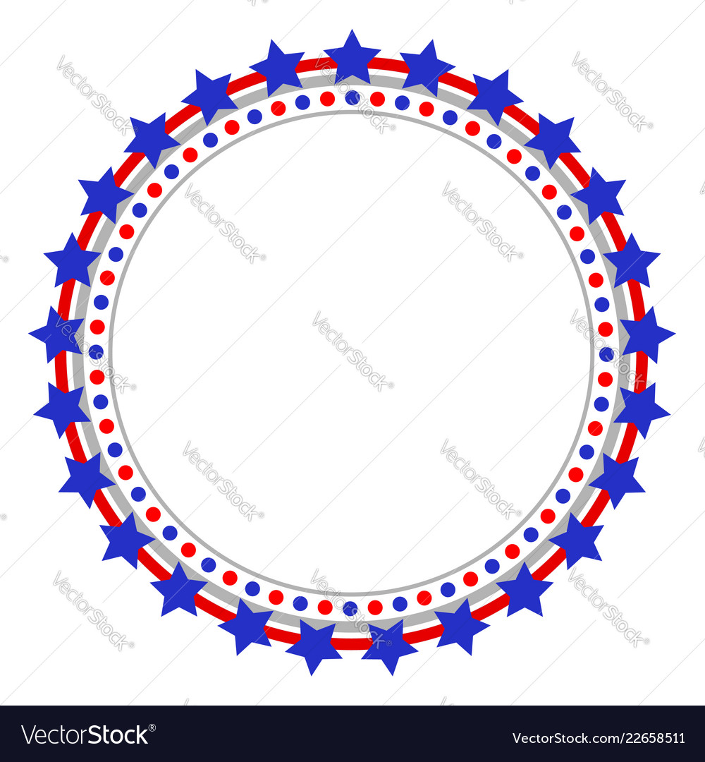 Round american frame with stars vector