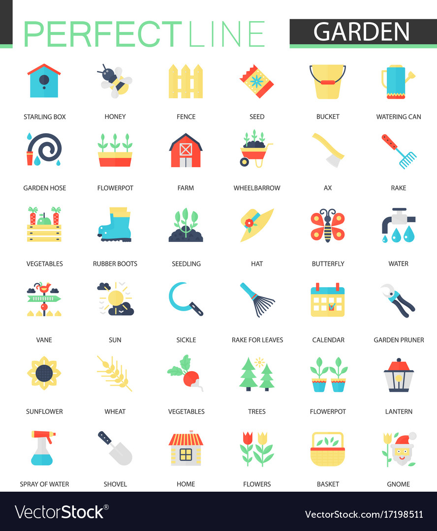 Set of flat flower and gardening icons