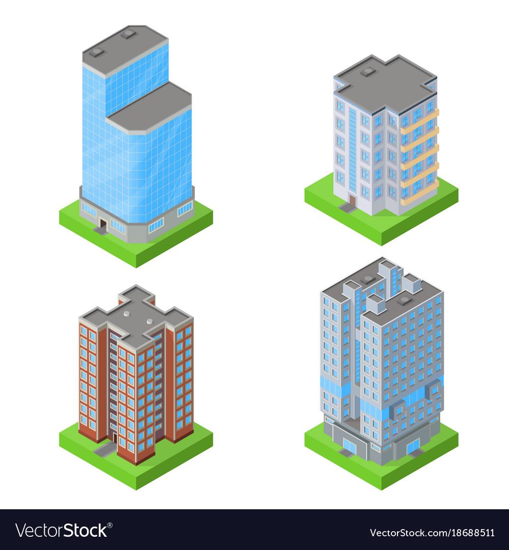 Set of isometric block houses