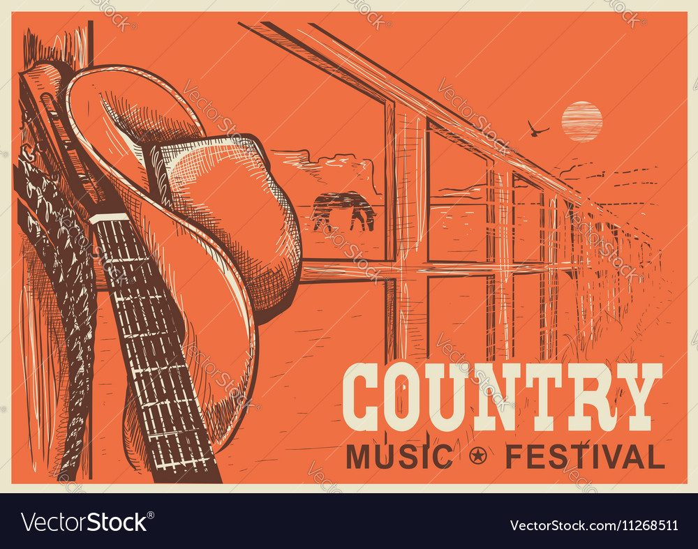 Western country music poster with cowboy hat and