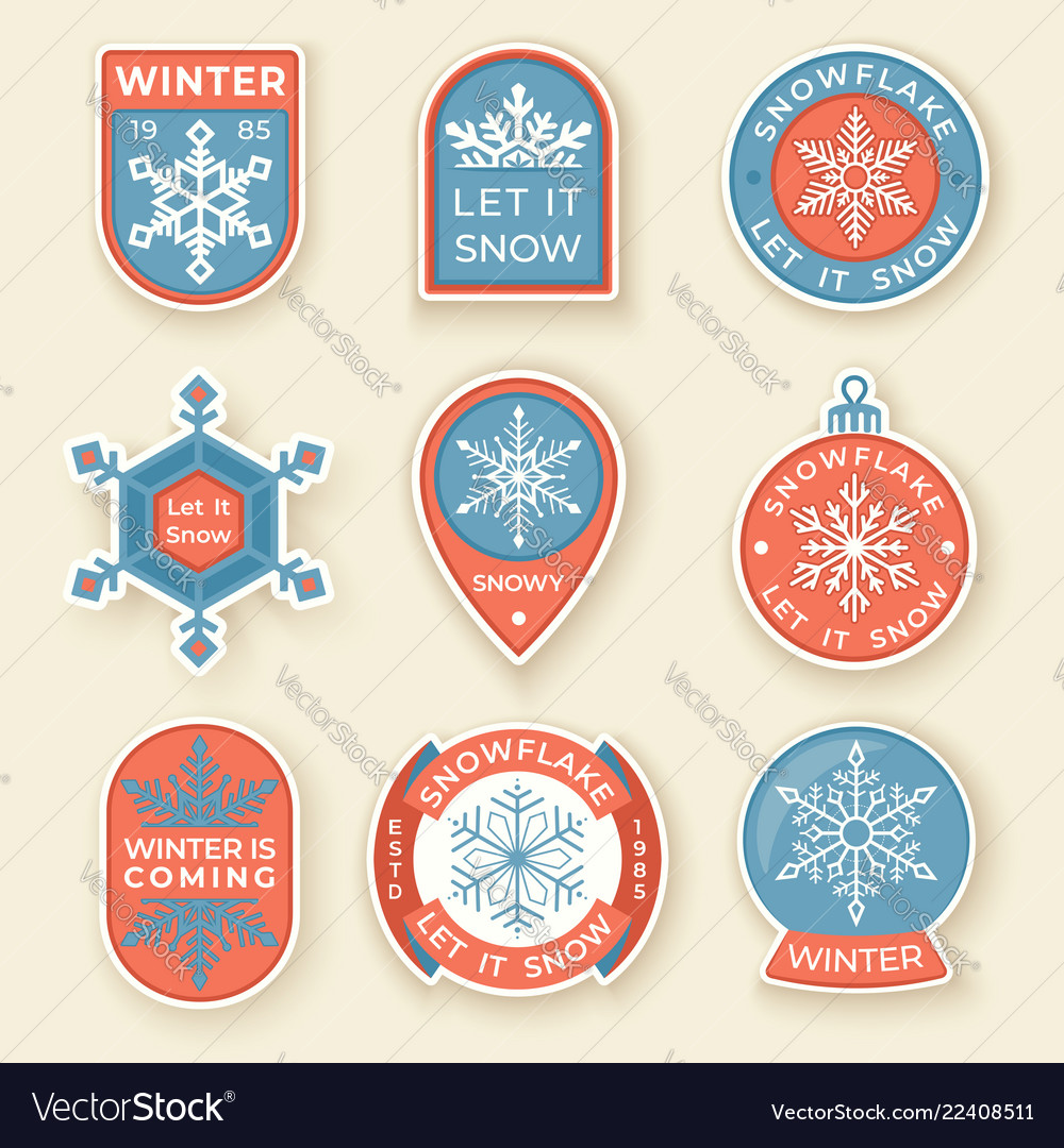 Winter labels and badges elements set of