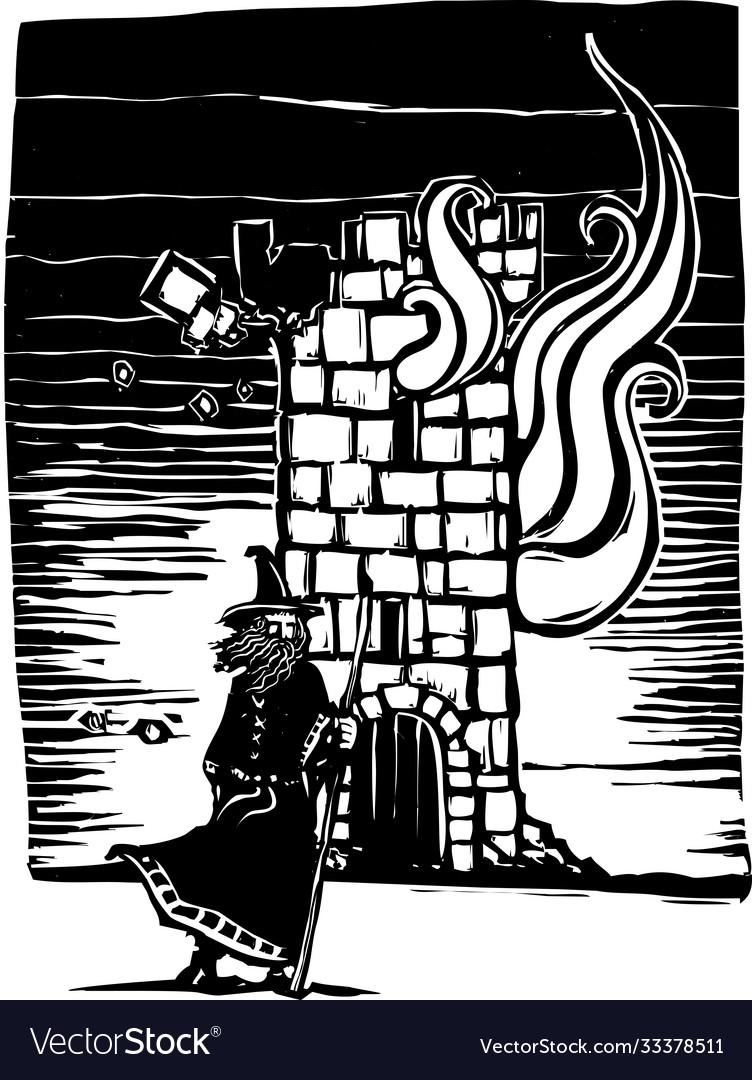 Wizard and burning tower