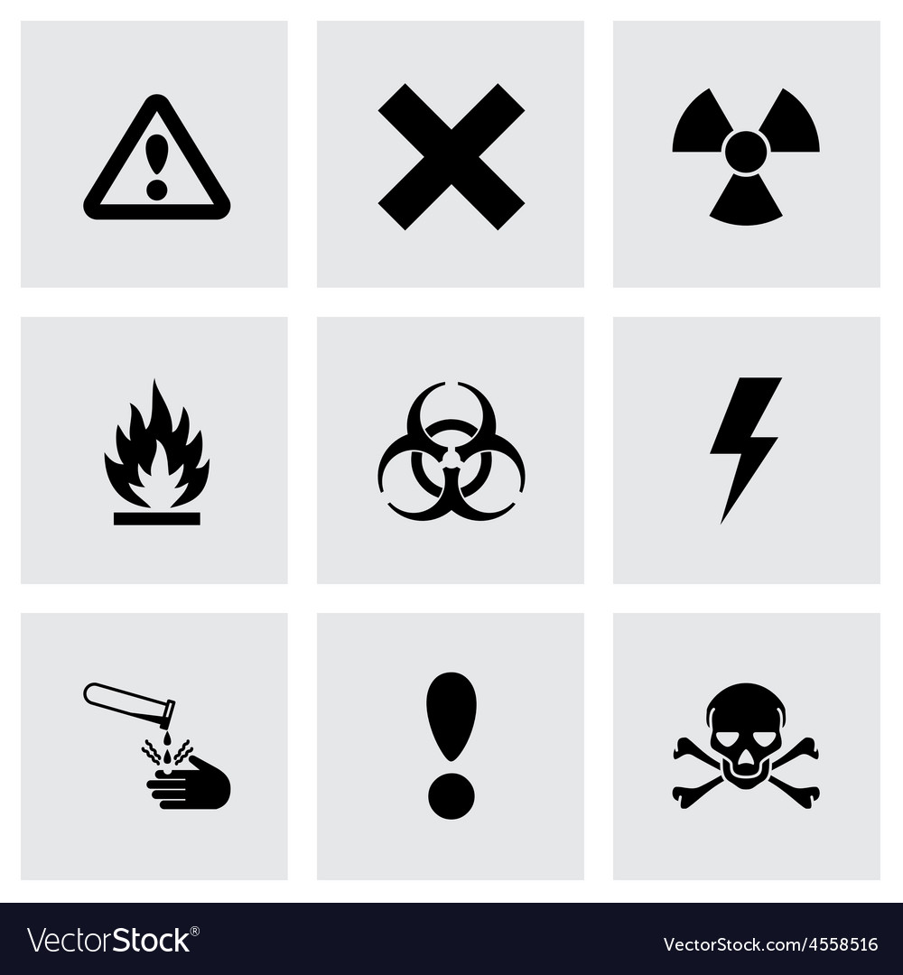 Black danger icon set