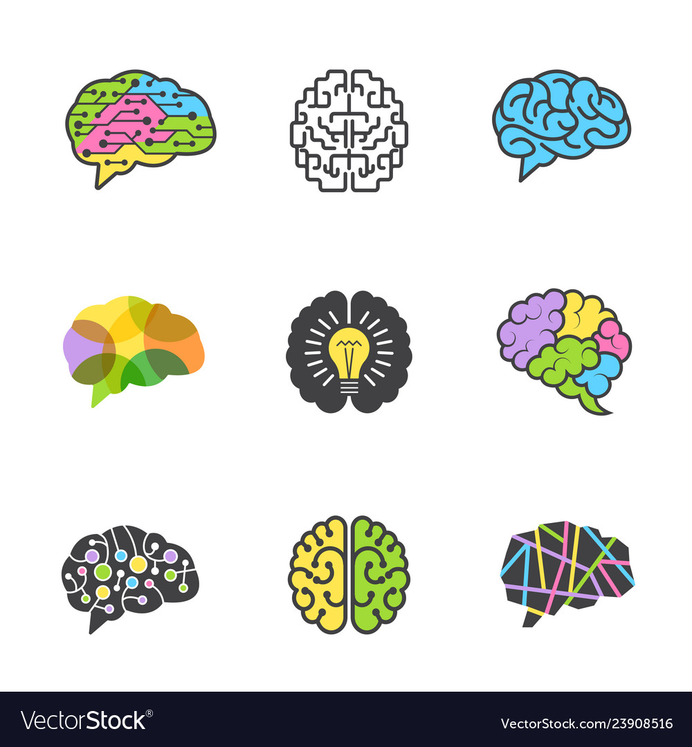 Brain colored symbols creative mind genius smart