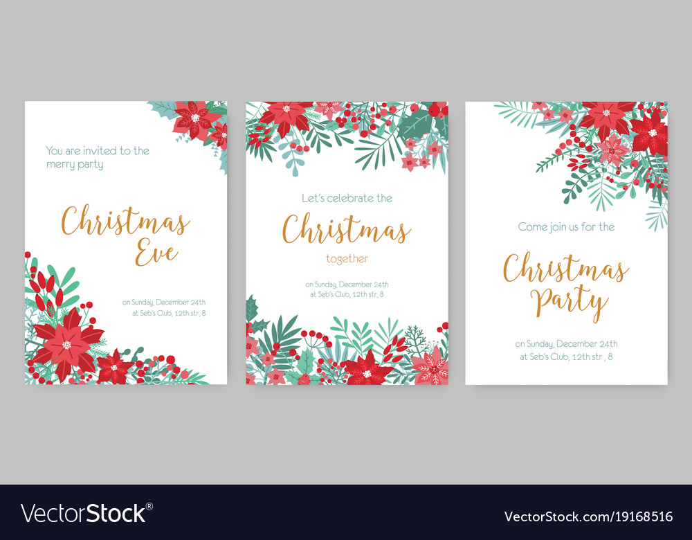 Collection of christmas party invitations holiday Vector Image