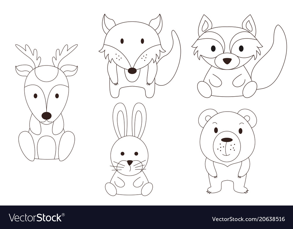 Coloring page with animal wild deer and raccoon