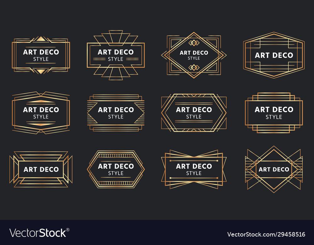 Golden art deco badges gold frame label