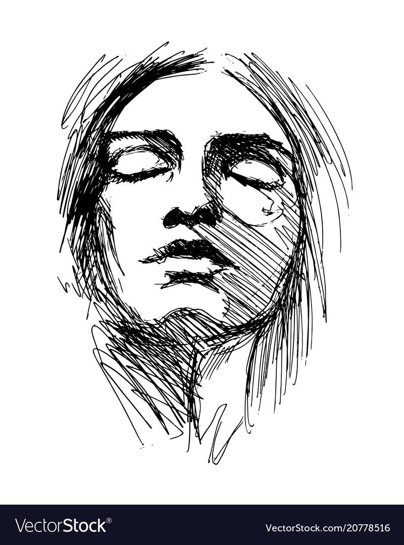 Hand sketch woman head