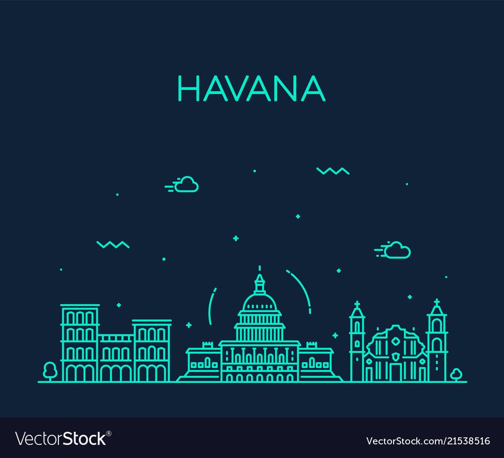 Havana city skyline cuba linear style city