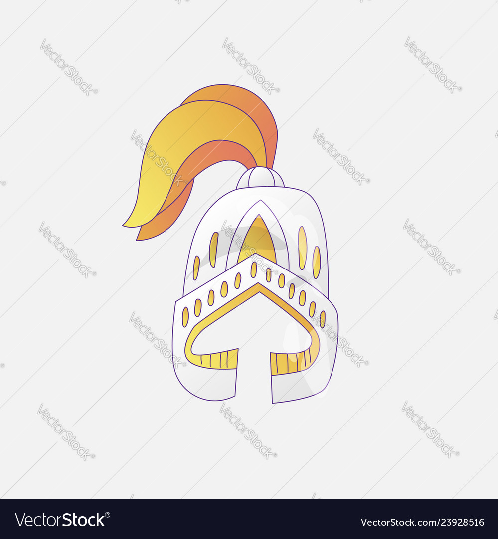 Medieval cartoon cute helmet icon with gold