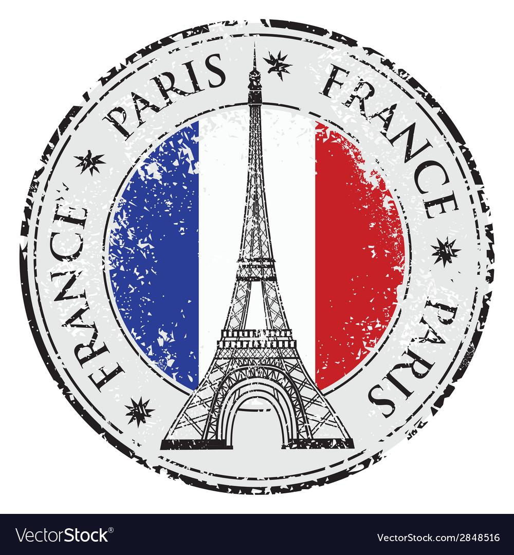 Paris town in France grunge flag stamp