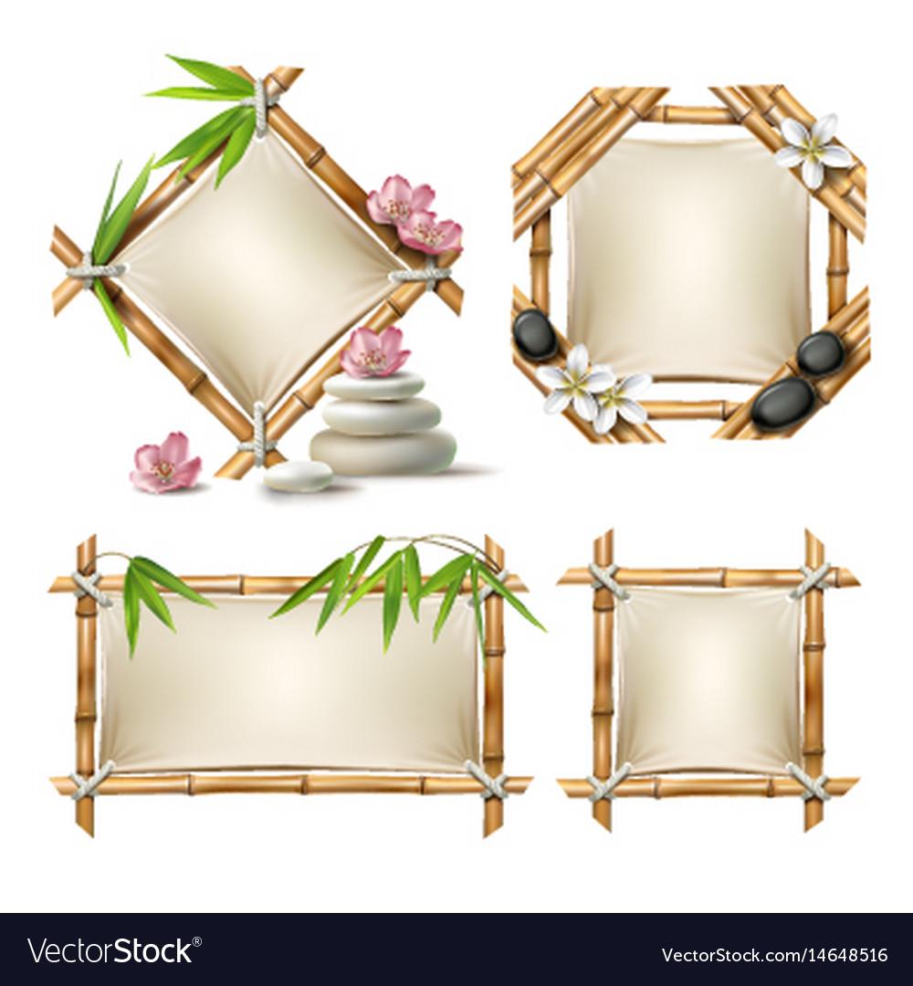 Set of bamboo frames Royalty Free Vector Image