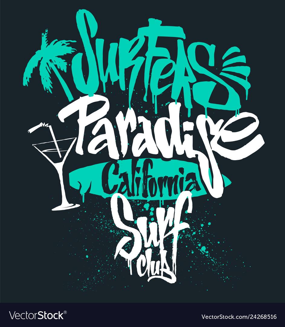 Surf paradise lettering t-shirt graphics