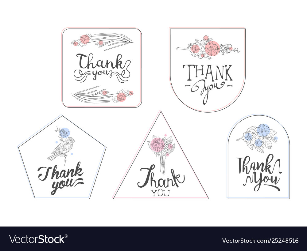 Thank you cards with handwritten inscription