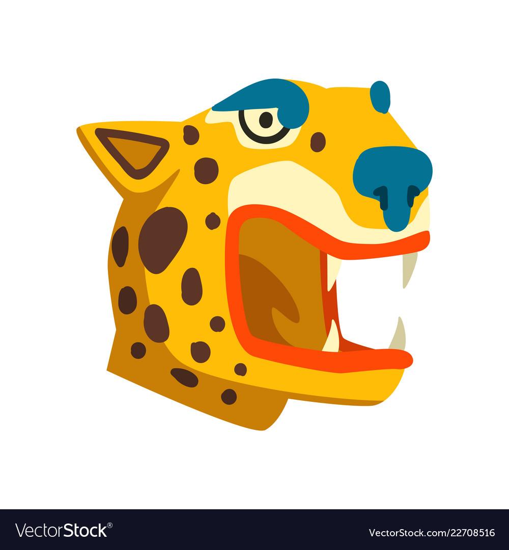 Tiger head maya civilization symbol american