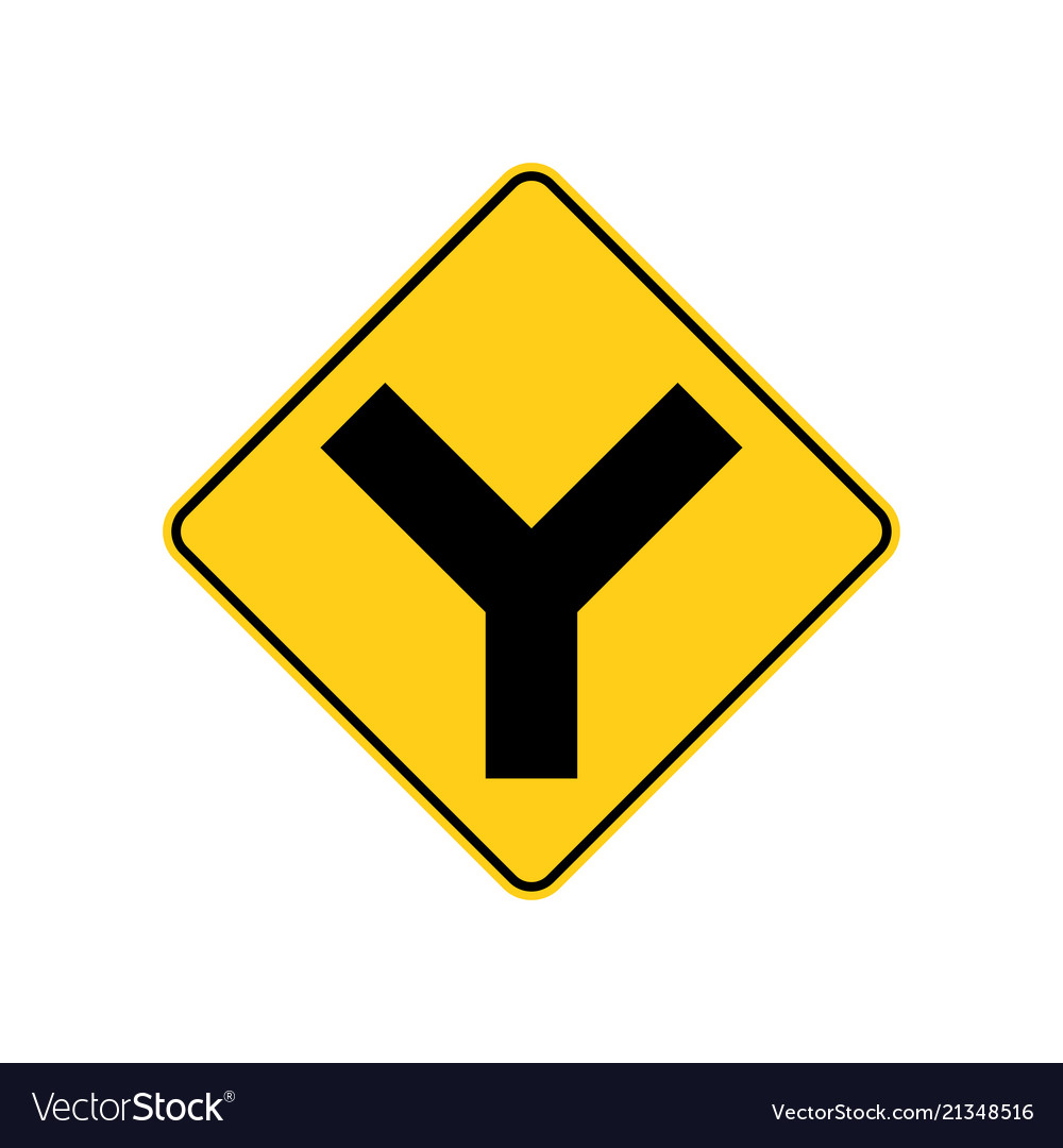 Usa traffic road signs y intersection ahead