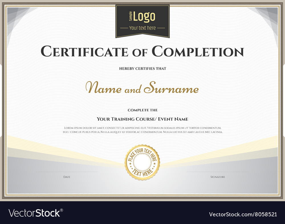 Certificate Of Completion Template Silver Theme Vector Image