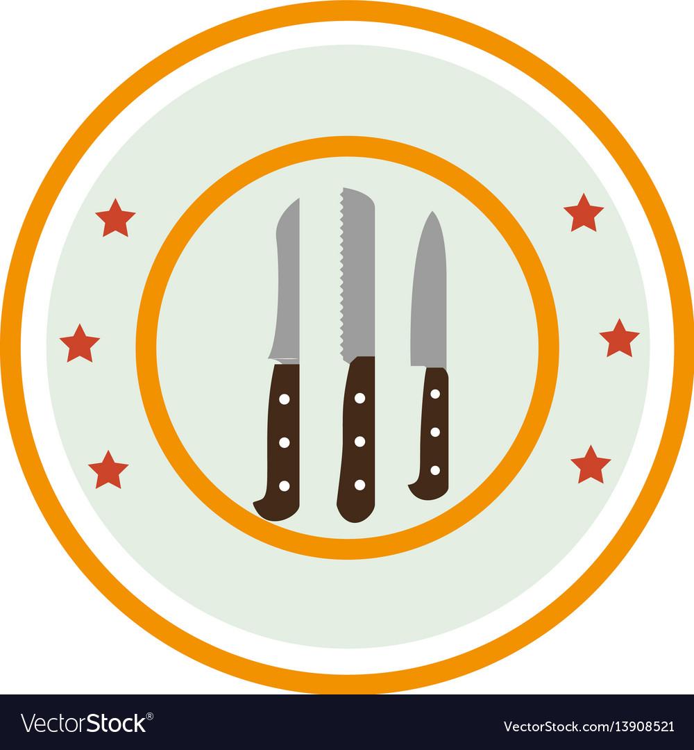 Color circular frame with knife set