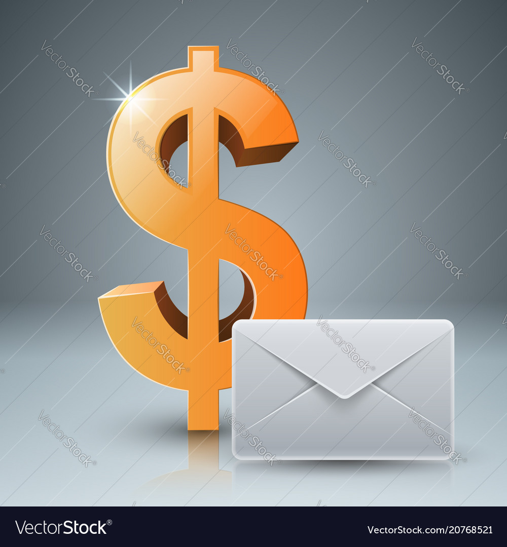 Dollar envelope mail email icon