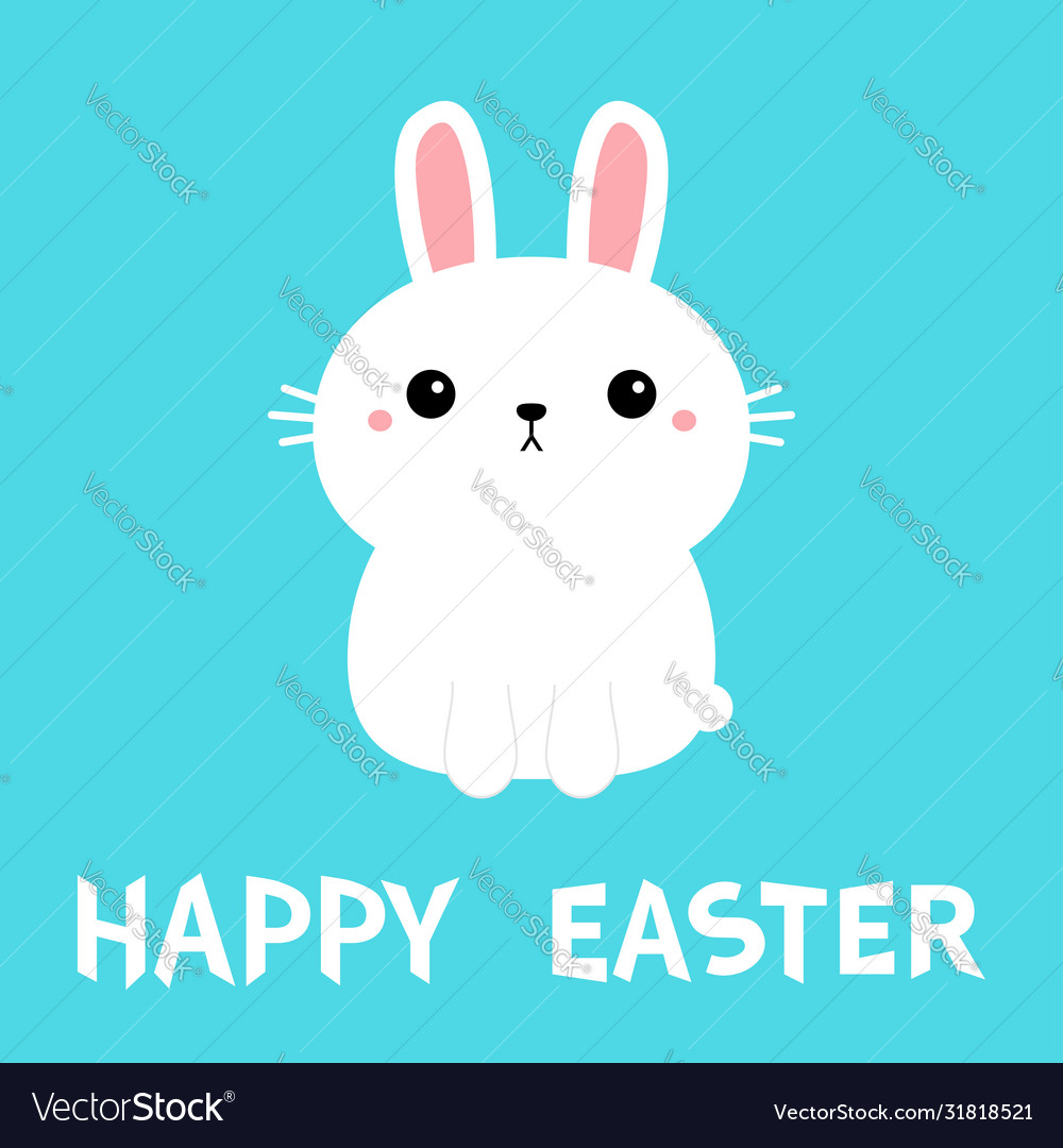 Happy easter white bunny rabbit icon cute funny