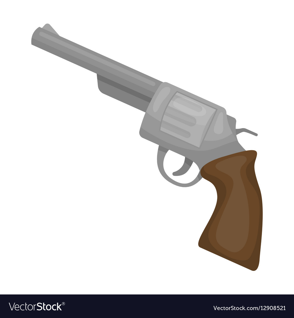 Revolver icon in cartoon style isolated on white