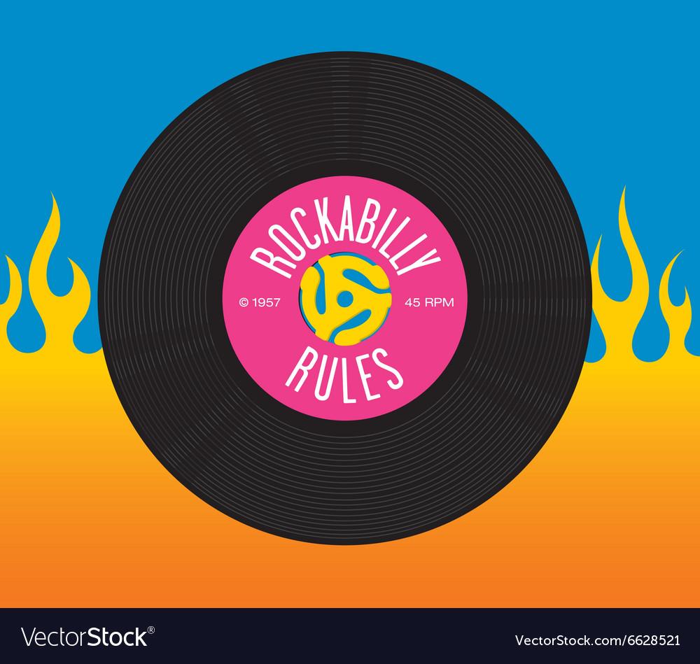 Rockabilly Rules Record Design vector image