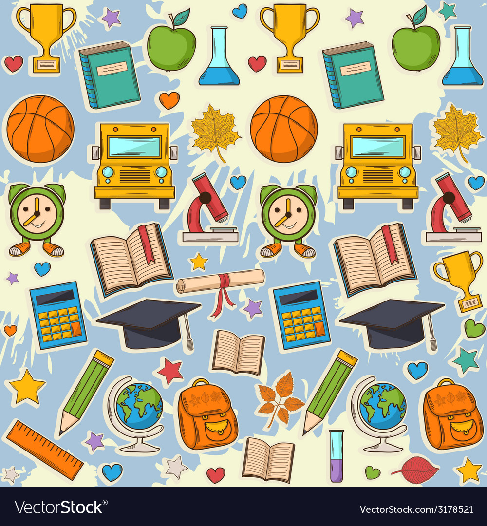 School pattern on blots vector image