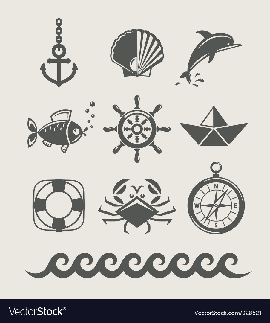 Sea and marine symbol set vector image