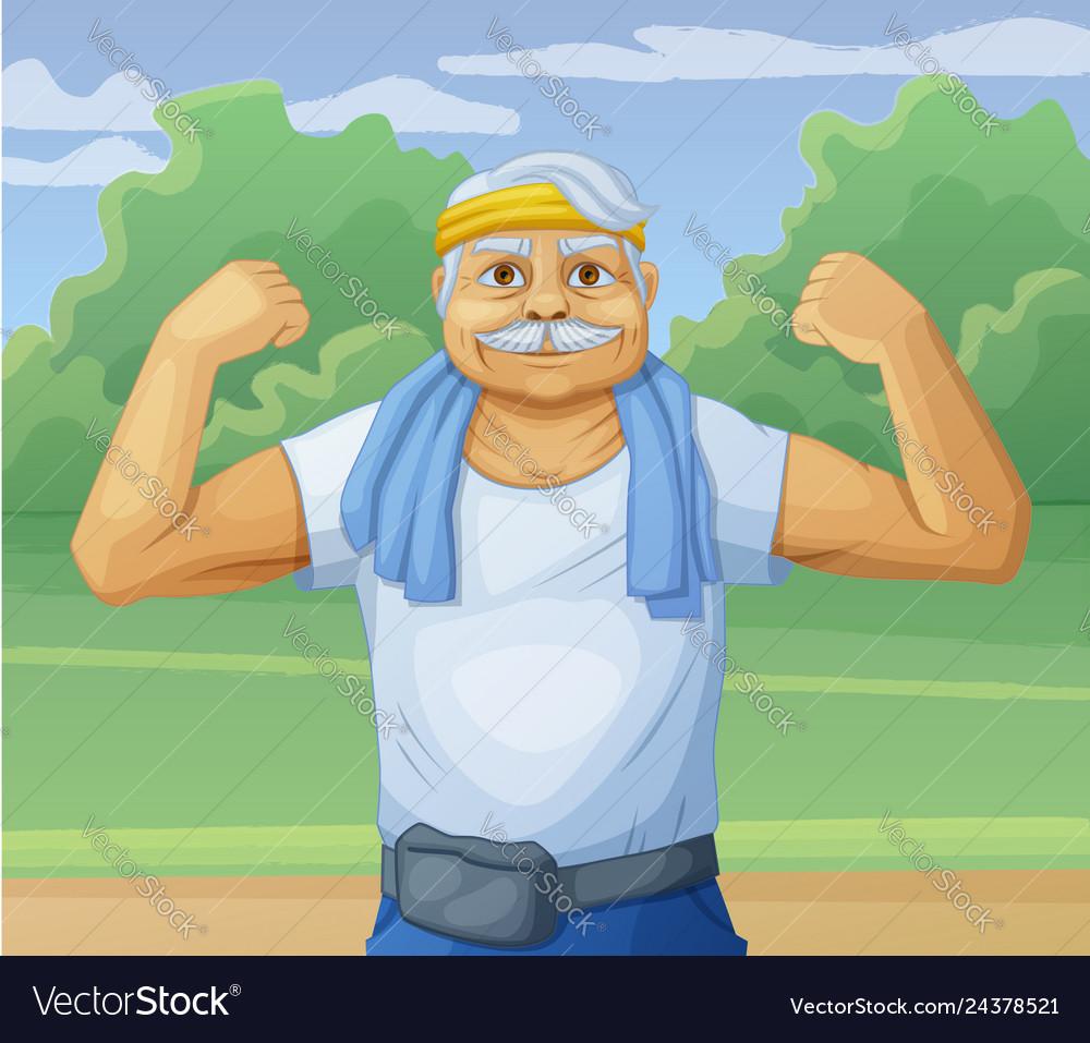 Senior man doing sport morning exercises in park