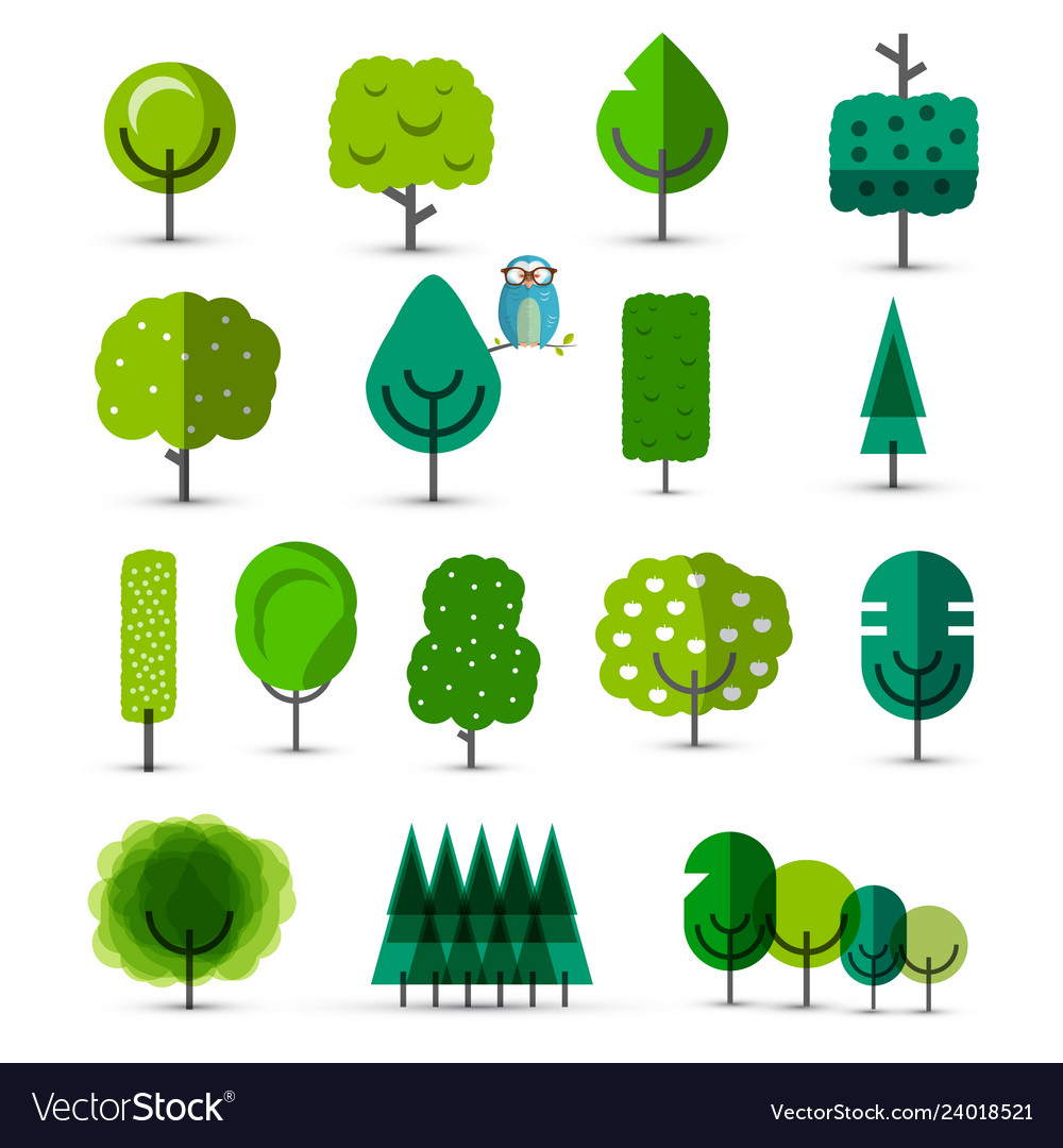 Set of abstract green trees tree icons