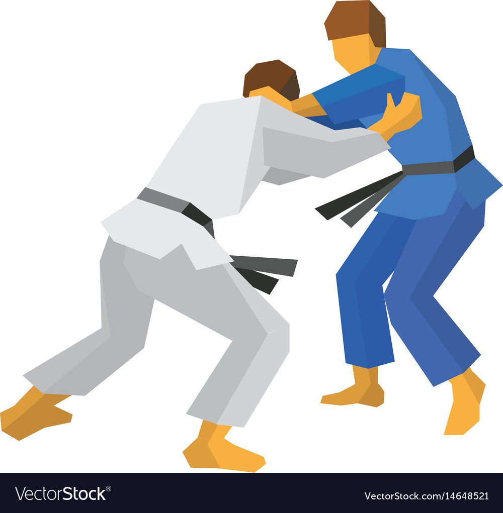 Two judo fighters in blue and white colors